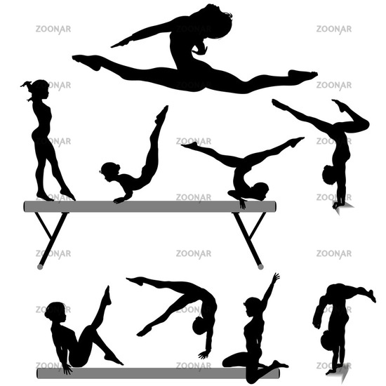 Gymnast clipart child yoga Silhouette Clipart Gymnastics Split