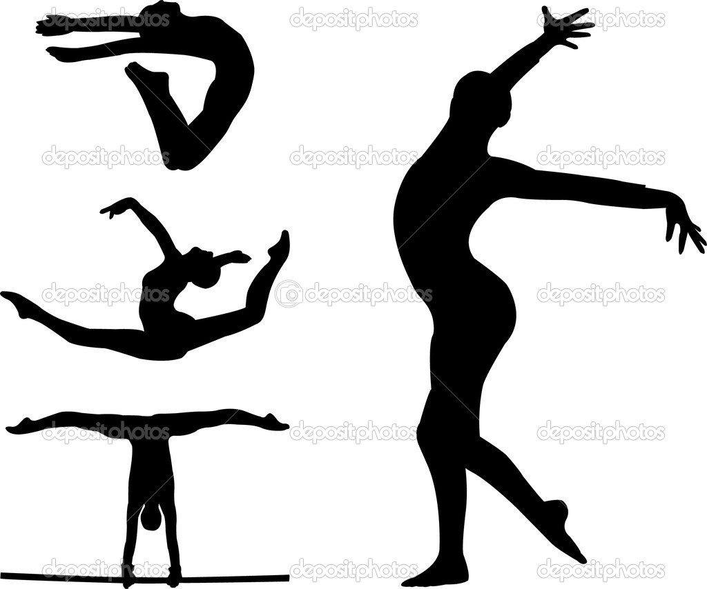 Gymnast clipart outline Clipartsgram Gymnastics Jump Silhouette Gallery