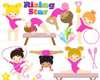 Gymnast clipart pink Etsy Etsy gymnastics Pinterest clipart