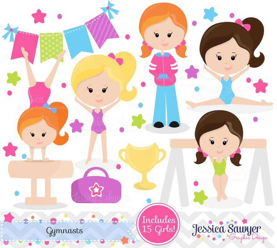 Gymnast clipart pink Gymnastic girls tumbling art clip