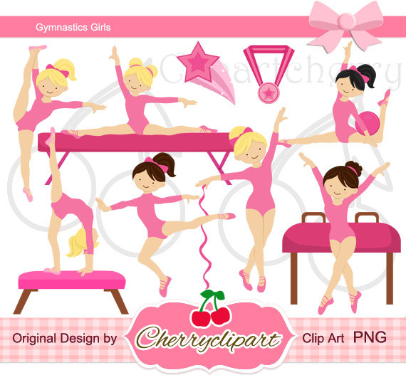 Pink clipart gymnastics Girls Gymnastics Clipart crafts Pink