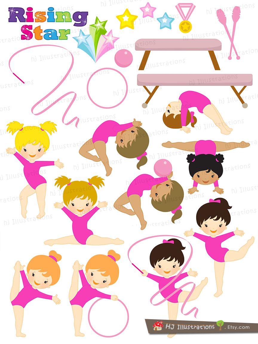 Pink clipart gymnastics Clipart Girls Girl Clipart athletics