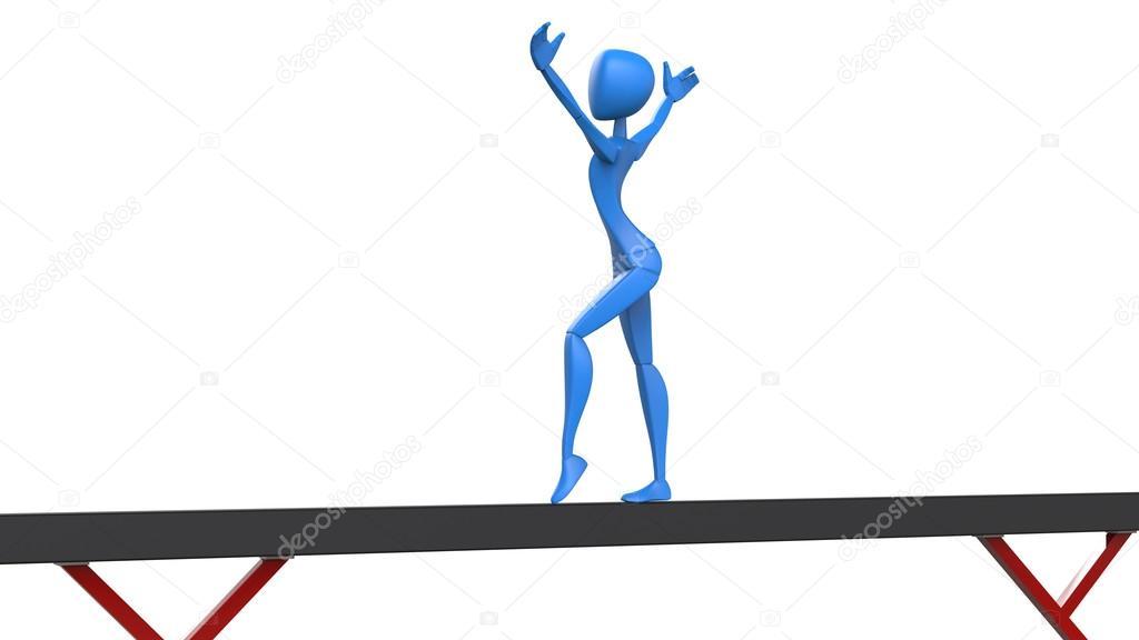 Gymnast clipart salute Girl on Blue salute