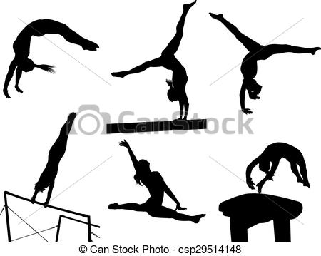 Gymnast clipart somersault Female Female Silhouettes Vector EPS