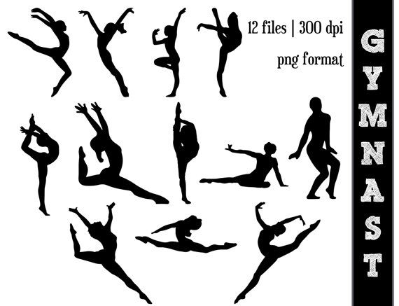 Gymnast clipart the word Silhouettes Silhouettes // Pinterest Best