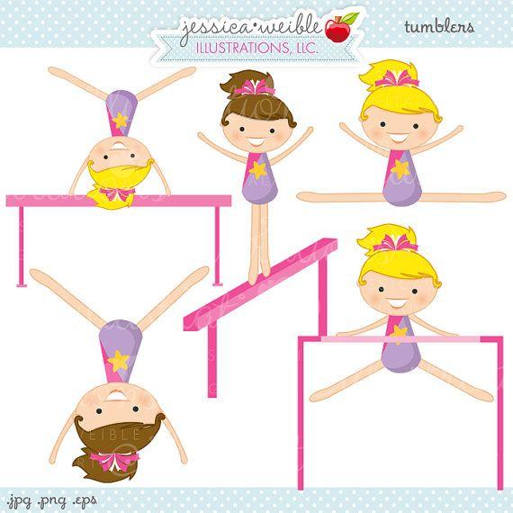 Gymnast clipart trampoline gymnastics Digital Gymnast Cute Tumblers Girls