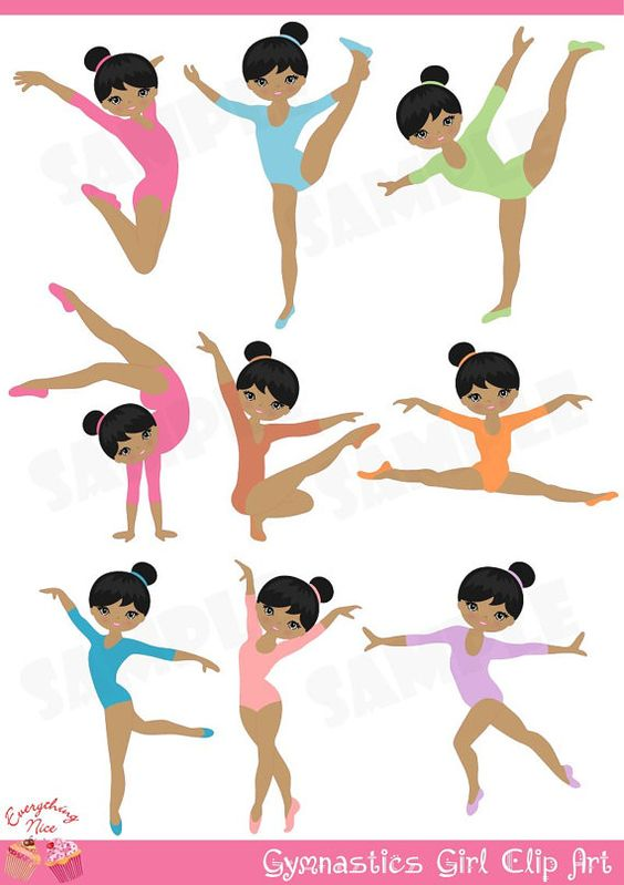 Gymnastics clipart purple Gymnast Girl Afro Google for