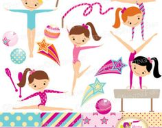 Gymnastics clipart birthday party Sport Set gymnastic Art Girl