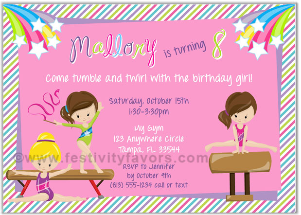 Gymnastics clipart birthday party Party $1 Gymnastics Girl Birthday
