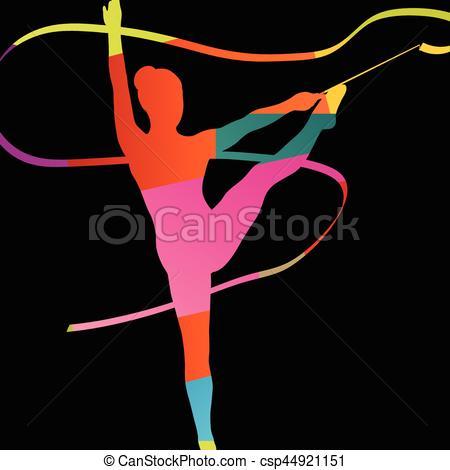 Gymnastics clipart calisthenics Vector silhouette abstract calisthenics Girl