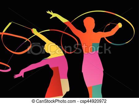 Gymnastics clipart calisthenics Illustration silhouette abstract calisthenics Girl