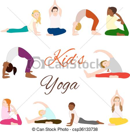 Gymnastics clipart child yoga Set healthy children and Gymnastics