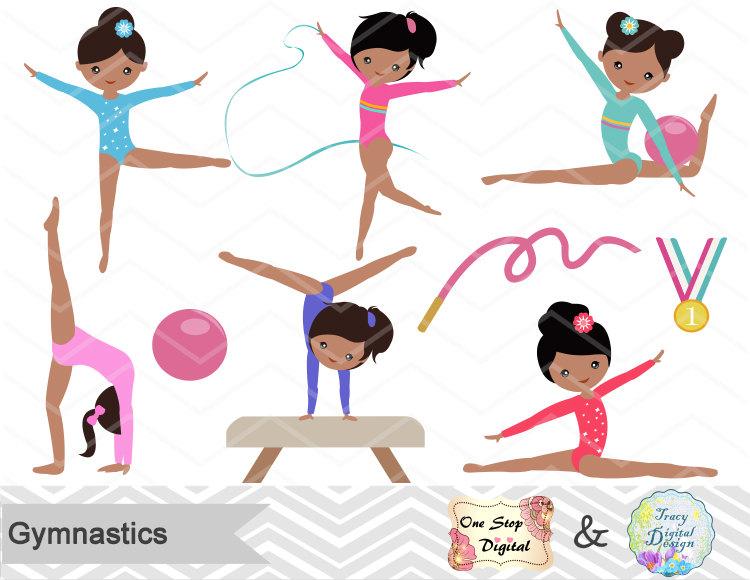 Gymnastics clipart fun Girls Digital Clipart Clip Gymnastics