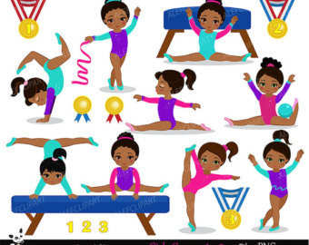 Gymnastics clipart fun African and clipart Set Etsy