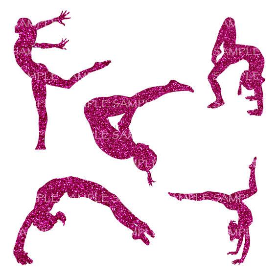 Gymnastics clipart glitter Clip Glitter Digital Art Gymnastics