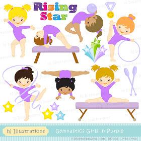 Gymnastics clipart purple Clip Gymnastic Clipart Art Girl