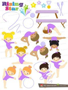 Gymnastics clipart purple Gymnastic Set for in by