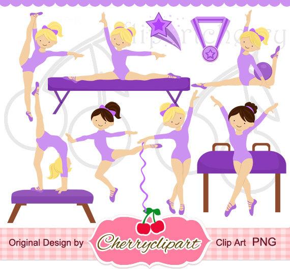 Gymnastics clipart purple Clipart Purple card  Girls
