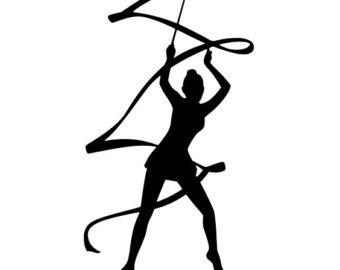 Gymnastics clipart ribbon Car/Computer/Home gymnast Art/Phone/Truck Ribbon Rhythmic