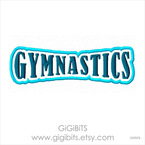 Gymnastics clipart the word Filled Word Embroidery Inscription Word