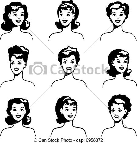Hair clipart 50's Up 1950s portraits beautiful Vectors