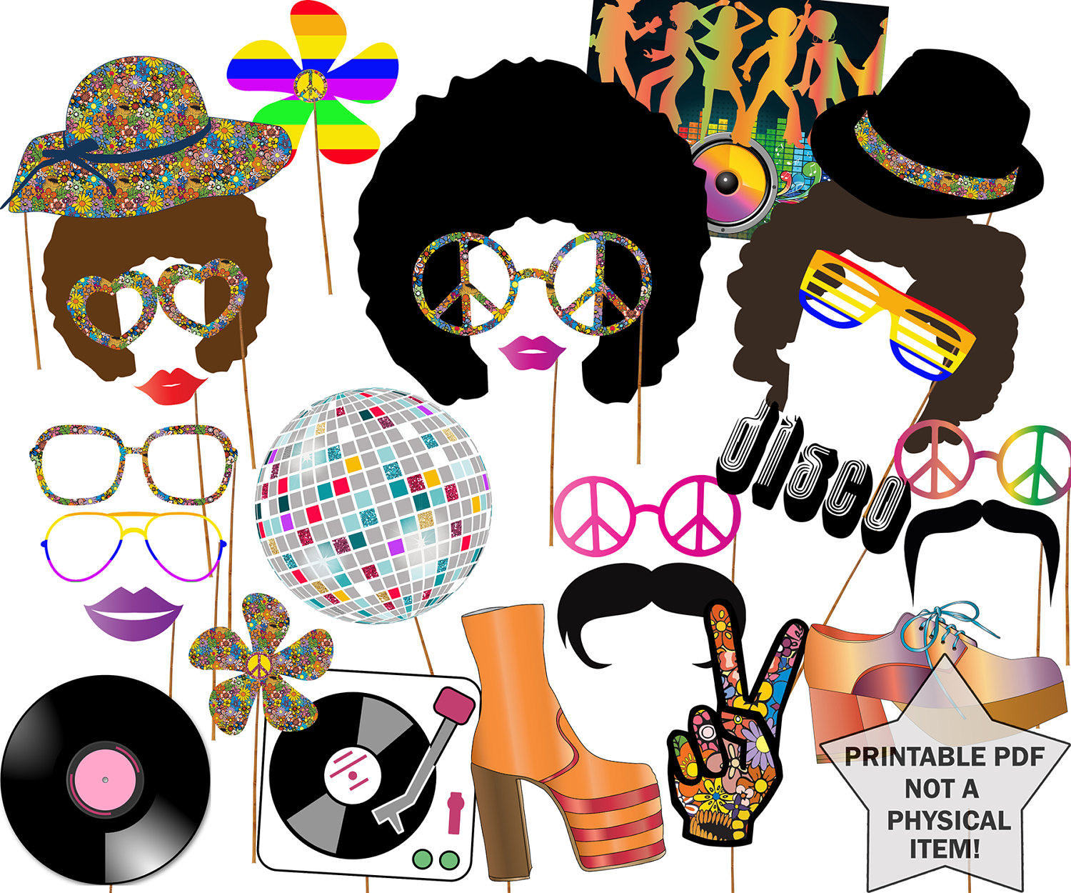 Party clipart 70's Disco 70s 70s decor PARTY
