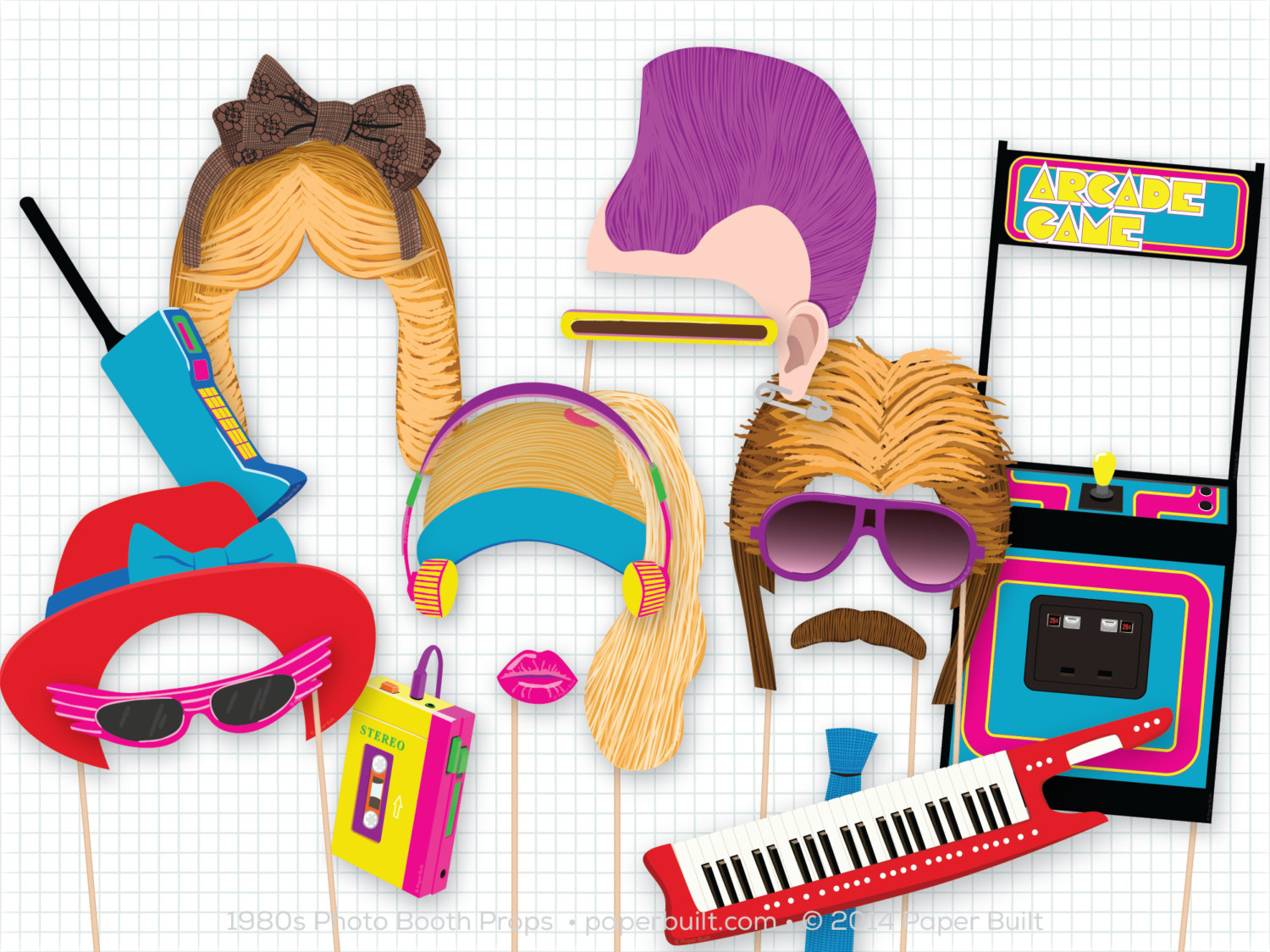 Hair clipart 80's Mullet Photo Props Booth tape