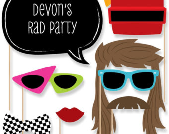 Hair clipart 80's Tie Photo Props Booth Etsy