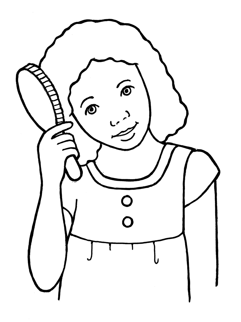 Hair clipart black and white Hair collection hair brushing Girl