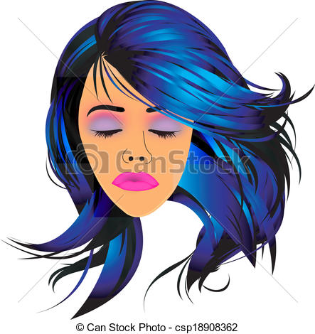 Hair clipart blue Art pout hair and Lady