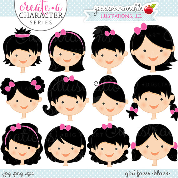 Dark Hair clipart cartoon Faces Hair Use Faces Digital