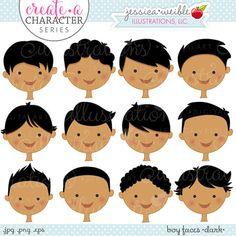 Hair clipart cute Black Cute Faces Create Digital