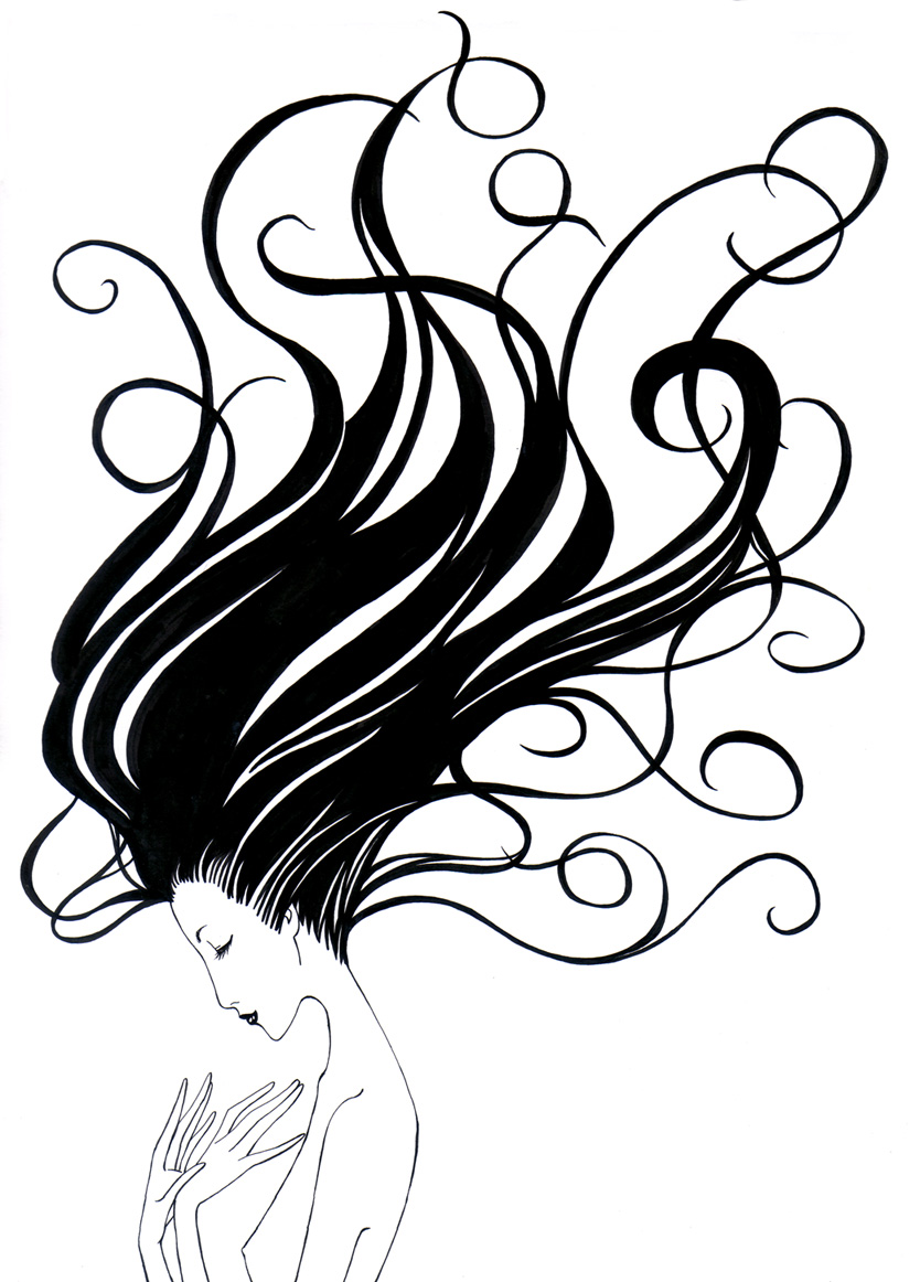 Hair clipart flowing hair Flowing Drawing Clipart Images Free
