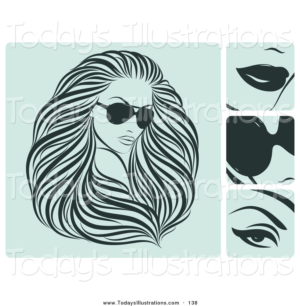 Hair clipart flowing hair A of a of Sunglasses