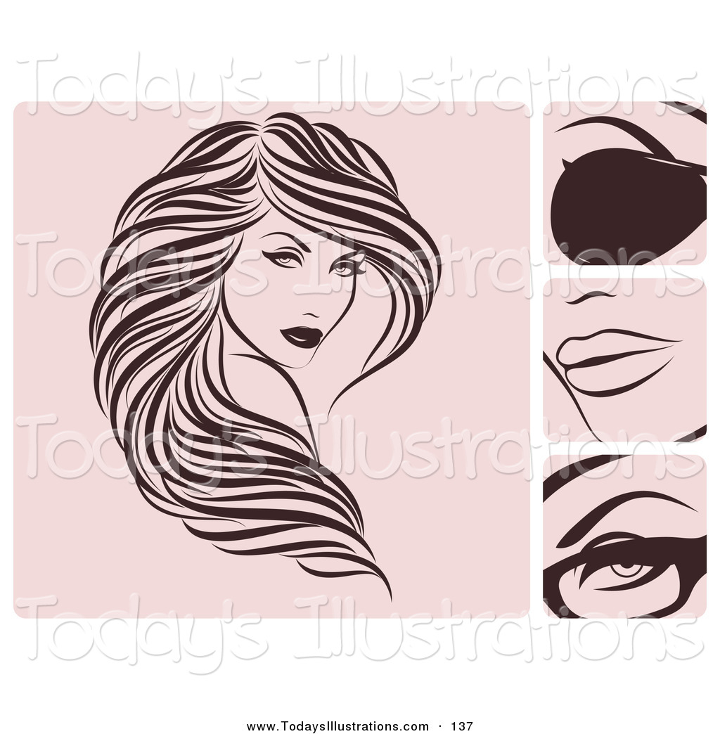 Hair clipart flowing hair A of Digital of