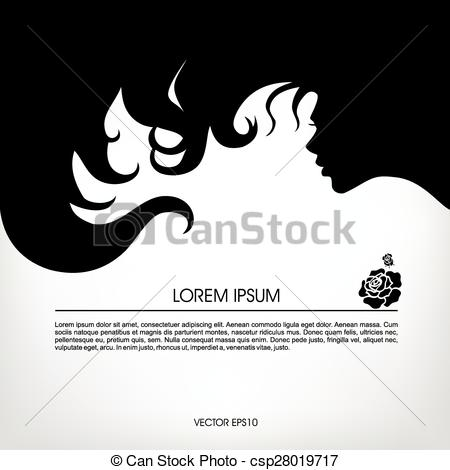 Hair clipart flowing hair A of girl flowing Clip