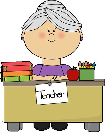 Hair clipart grey hair Teacher Teacher with at Desk