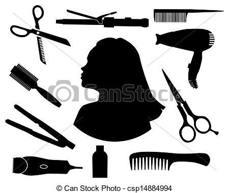 Hair clipart illustration Hair salon silhouettes Vectors vector