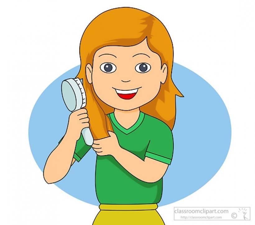 Hair clipart kid hair Hair brushing combing Child child