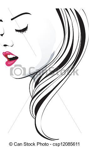 Hair clipart line art Clipart csp12085611 Clip Wavy Hair