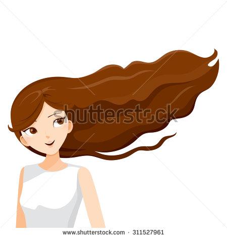 Women clipart brown hair Blowing in in  woman