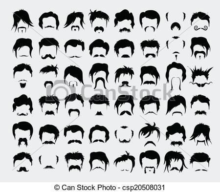 Hair clipart man hair Retro Vector set Vectors beard