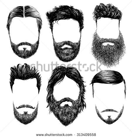 Hair clipart mens hair Hair stock Men's set Hipster