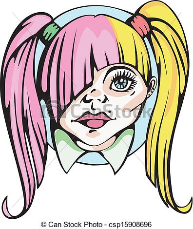 Hair clipart pigtail hair Girl pigtails with of cute