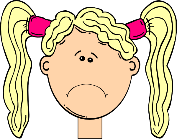 Hair clipart pigtail hair Girl Blonde With Clker Sad