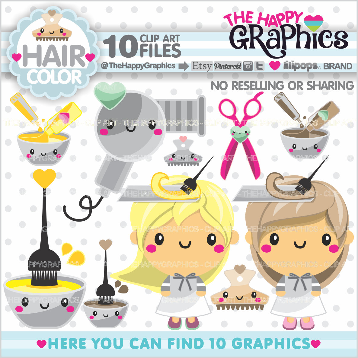 Hair clipart salon spa USE COMMERCIAL Graphics Planner USE