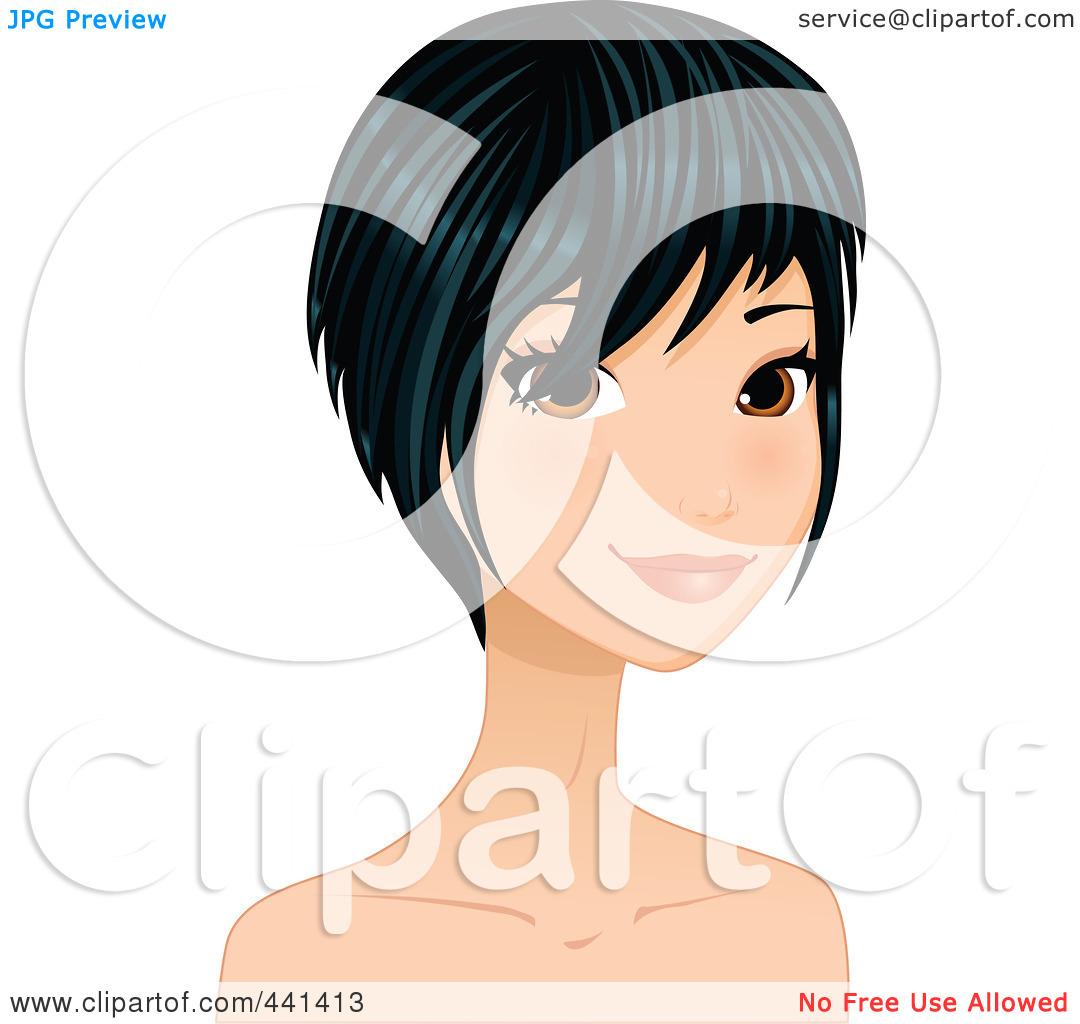 Dark Hair clipart pretty face #3