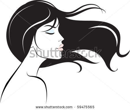 Hair clipart side face By black V by long
