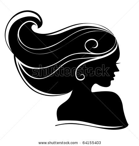 Hair clipart silhouette Silhouettes vector : : Beautiful