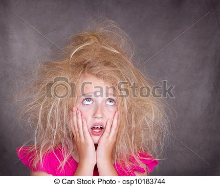 Hair clipart tangled Photo Stock with girl tangled